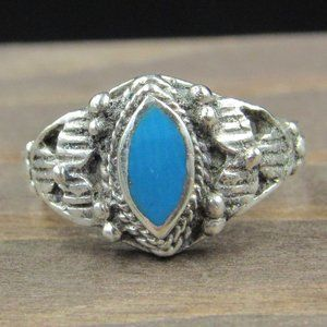 Size 2.75 Sterling Silver Tiny Blue Inlay Band